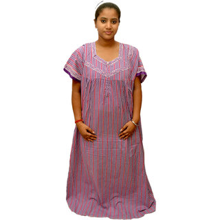 Buy Odishabazaar Womens Cotton Nighty Purple Batik Nightwear Maxi ... 46bac8522