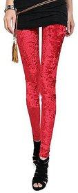 EMBOSS PRINTED Red WINE Velvet Leggings