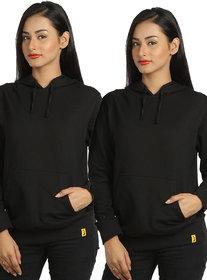 Campus Sutra Women's Black Hooded Sweatshirt (Design 25)