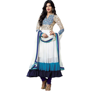 Ladies Designer Net And Viscose Semi-Stitched Anarkali Suit White And Blue