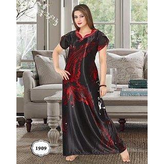 f2082d9f0c Hot Sleep Wear 1pc Night Gown in Black Daily Maxi Womens Night Dress 1909  Lounge