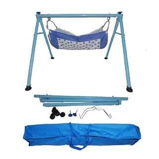 Smart Baby Products Powder Coated Round Pipe Blue Color Folding Baby Cradle