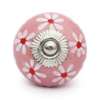 HAND PAINTED CERAMIC CABINET KNOB Pink and White (SET OF 4 PCS)