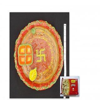 Rakhi special,Paper mache Pooja thal with haldiram sonpapadi & Hand made Rakhi..