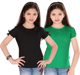 SINIMINI GIRLS FASHIONABLE TOP ( PACK OF 2 )SM300_BLACK_GREEN