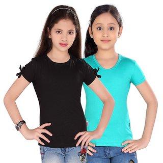 SINIMINI GIRLS FASHIONABLE TOP ( PACK OF 2 )SM300_BLACK_TBLUE