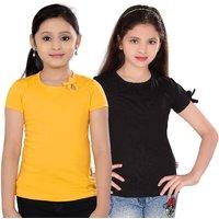 SINIMINI GIRLS FASHIONABLE TOP ( PACK OF 2 )SM300_GYELLOWPOONK_BLACK