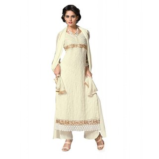 BanoRani Cream Georgette Embroidered Semi Stitched Salwar Suit