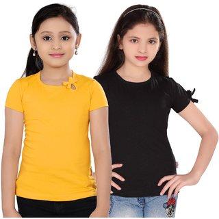 SINIMINI GIRLS FASHIONABLE TOP ( PACK OF 2 )SM300GYELLOWPOONKBLACK