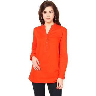 Harpa Orange Cotton Chinese Collar Full Sleeve Tops