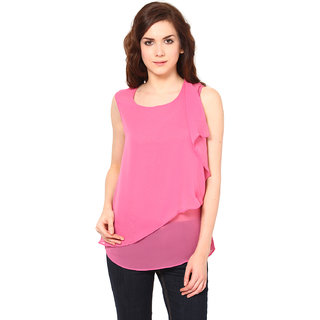 Harpa Stylish Pink Georgette Round Neck Sleeveless Tops
