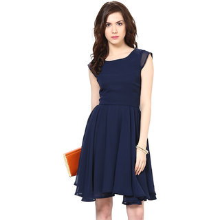 Harpa Classic Women'S Dress Navy Georgette Sleeveless Midi Dress