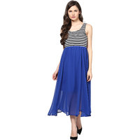 Harpa Women'S Dress Royal Blue Georgette Sleeveless Maxi Dress