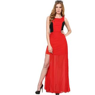 Harpa Women'S Dress Red Georgette Sleeveless Maxi Dress