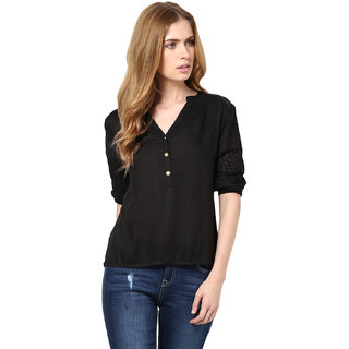 Harpa Black Rayon Solids 3/4Th Sleeve Womens Top