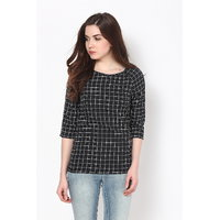 Harpa Black Crepe Checks 3/4Th Sleeve Womens Top