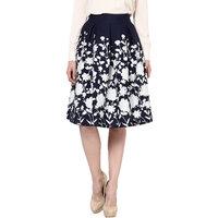 Harpa Navy Medium Length Crepe Aline Style Skirt