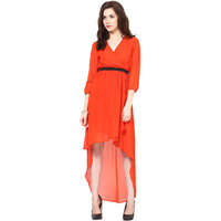 Harpa Womens Dress Orange Georgette Midi Skater Dress