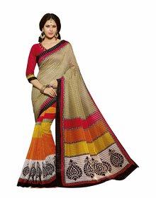 Bhavi Multicolor Linen Printed Saree With Blouse