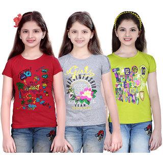 SINIMINI GIRLS PRINTED HALF SLEEVE TSHIRT(PACK OF 3)SMH600_TPINK_WM_MEGNDI