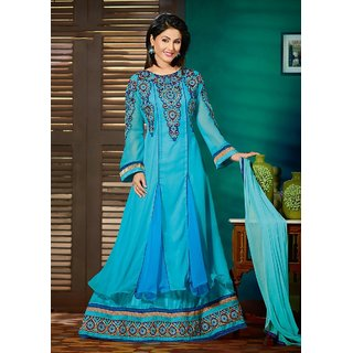 fc746c0904c7e2 BanoRani Sky Blue Georgette Heavy Embroidery With Border Work Salwar Suit