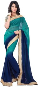 florence clothing company Blue Chiffon Plain Saree With Blouse