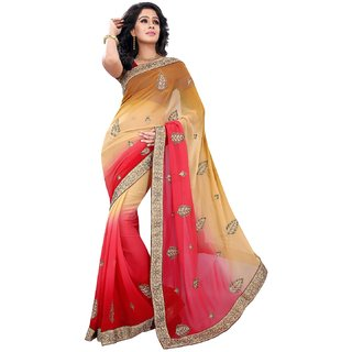 florence clothing company Beige Chiffon Embroidered Saree With Blouse