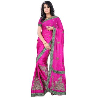 florence clothing company Pink Satin Embroidered Saree With Blouse
