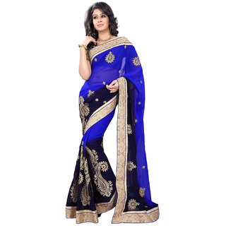 Florence Blue Chiffon Embroidered Saree (FL-10591)