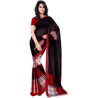 Florence Black Faux Georgette Printed Saree (FL-10593)