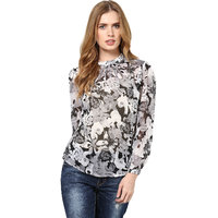 Harpa Grey Georgette Floral Full Sleeve Womens Top