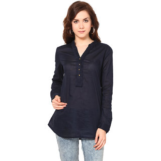 Harpa Navy Cotton Chinese Collar Full Sleeve Tops