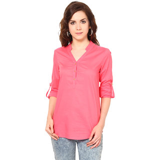 Harpa Pink Rayon Chinese Collar Full Sleeve Tops