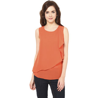 Harpa Trendy Orange Georgette Round Neck Sleeveless Tops