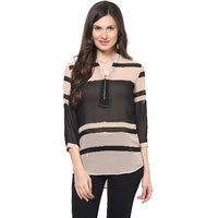 Harpa Nude Georgette Solids 3/4Th Sleeve Women's Top