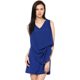 Harpa Lovely Blue Short Length Georgette Plain Women Dress