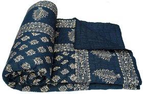 Krg Enterprises Golden Print Jaipuri Double Bed Cotton Razai / Quilt