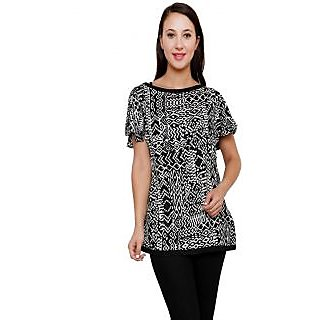 Rumara Black Stylish Printed Top For Women