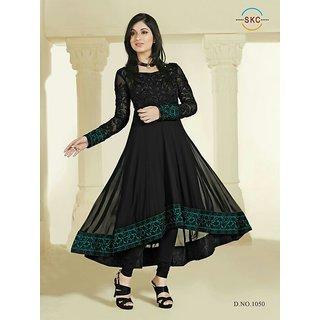 Black Colour Georgette Anarkali Salwar Suit (Unstitched)