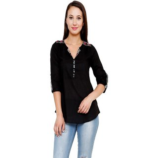 Rumara Black Formal Top For Women