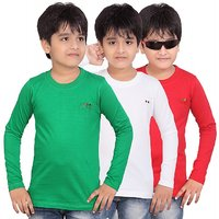 DONGLI BOYS MARVELLOUS FULL SLEEVE T-SHIRT (PACK OF 3)DLF450_GREEN_WHITE_RED