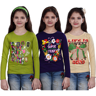 SINIMINI GIRLS PRINTED FULL SLEEVE TSHIRT (PACK OF 3)SMF700MEGANDIPURPLEBEIGE