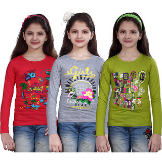 SINIMINI GIRLS PRINTED FULL SLEEVE TSHIRT ( PACK OF 3 )SMF700_TPINK_WM_MEGANDI