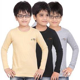 DONGLI BOYS MARVELLOUS FULL SLEEVE T-SHIRT (PACK OF 3)DLF450_BLACK_WM_BEIGE