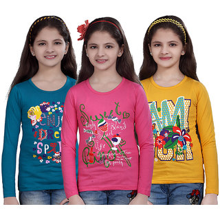 SINIMINI GIRLS PRINTED FULL SLEEVE TSHIRT ( PACK OF 3 )SMF700PETROLMPINKGY