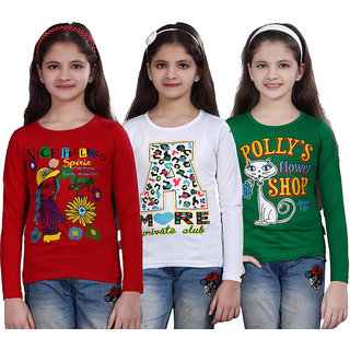 SINIMINI GIRLS PRINTED FULL SLEEVE TSHIRT ( PACK OF 3 )SMF700_RED_WHITE_GREEN