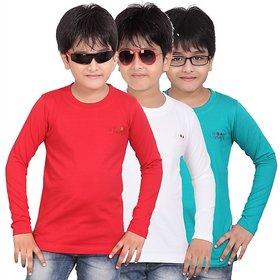 DONGLI BOYS MARVELLOUS FULL SLEEVE T-SHIRT (PACK OF 3)DLF450_RED_WHITE_TBLUE