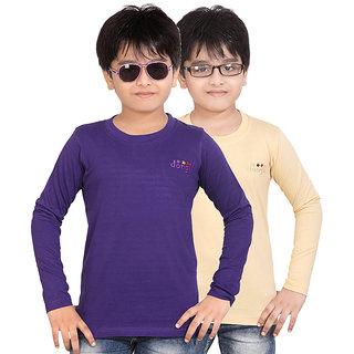 DONGLI BOYS MARVELLOUS FULL SLEEVE T-SHIRT (PACK OF 2)DLF450_8_13_PURPLE_BEIGE