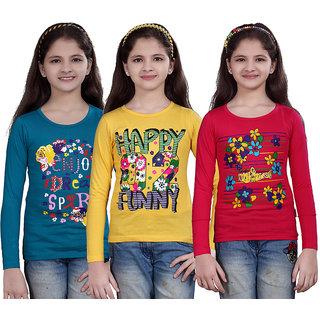 SINIMINI GIRLS PRINTED FULL SLEEVE TSHIRT ( PACK OF 3 )SMF700_PETROL_LY_RPINK