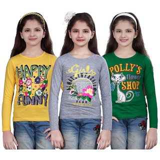 SINIMINI GIRLS PRINTED FULL SLEEVE TSHIRT ( PACK OF 3 )SMF700_LYELLOW_WM_GREEN